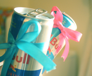 red bull, ribbon, and love image