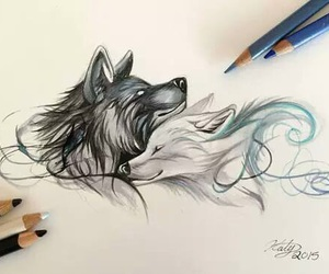 drawing and wolf image