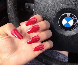 nails, red, and bmw image