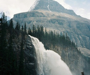 nature, mountains, and waterfall image