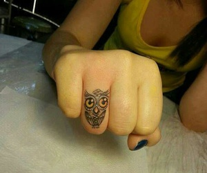 tattoo, owl, and fingers image