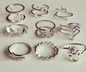 girly, rings, and silver image