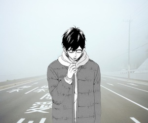 anime, boy, and fog image