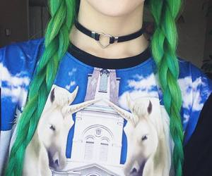choker, green hair, and lolita image