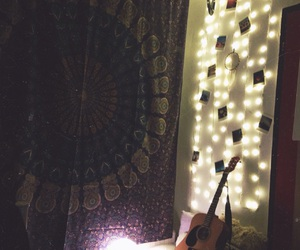 bedroom, lights, and polaroids image