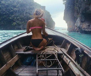 boat, girl, and sea image