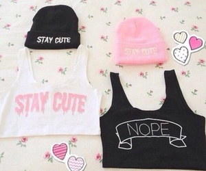 cute, pink, and black image