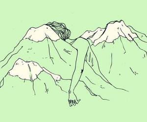 green, mountains, and art image