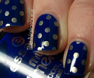 nail art, blue and gold, and nails image