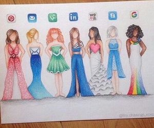 drawing, dress, and google image