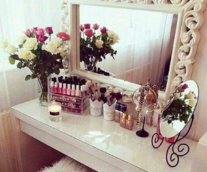 flowers, room, and mirror image
