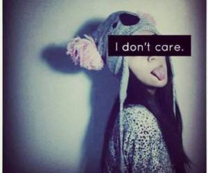 girl, i don't care, and text image