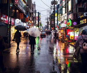 city, korea, and rain image