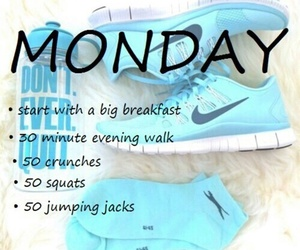 workout, monday, and fitness image