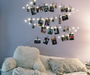 bed, bedroom, and pictures image