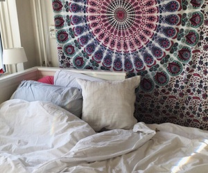 bed, tapestry, and bedding image