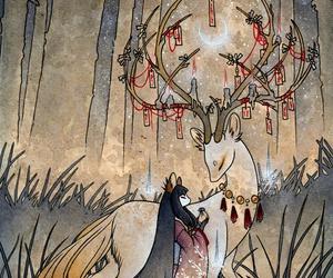 deer, japan, and fox image