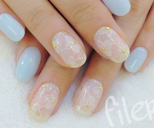 nails, pastel, and blue image