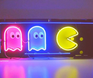 pacman, neon, and game image