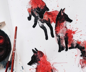 animals, art, and foxes image