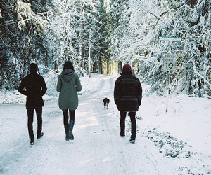 snow, friends, and winter image