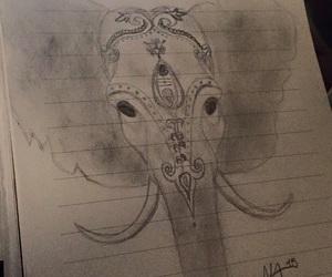 beautiful, drawing, and elephant image
