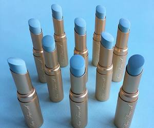 blue, lipstick, and makeup image