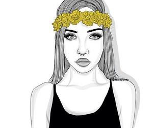 art, girl, and outline image