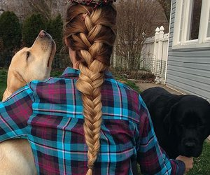 blond, braid, and brunette image