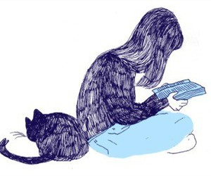 cat, book, and girl image