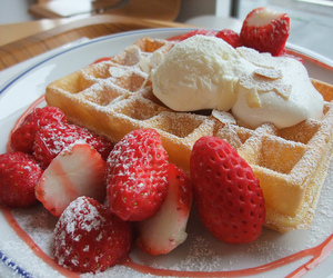 cream, sweet, and waffle image