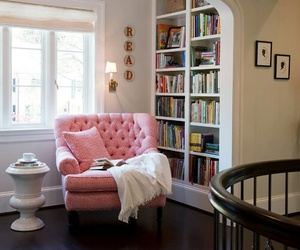 book, pink, and room image