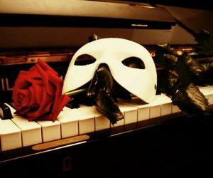 rose, mask, and Phantom of the Opera image