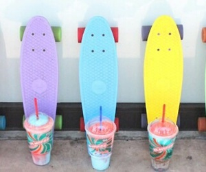 summer, drink, and penny board image