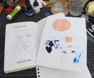 art, journal, and pastel image