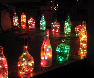 lights, bottles, and christmas image