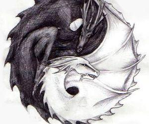 dragon, black, and white image