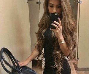 hair, long hair, and outfit image