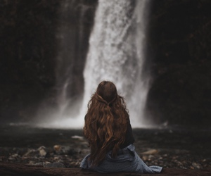nature, waterfall, and hair image