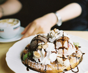 ice cream, photography, and waffles image