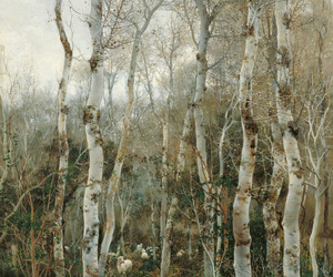 art, painting, and trees image