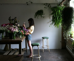 flowers, girl, and plants image