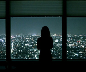 girl, landscape, and lights image
