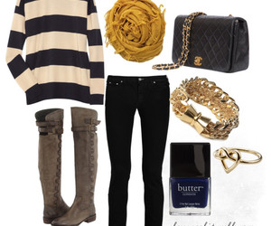 blue nail polish, boots, and butter image