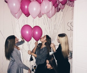 baloons, blonde, and brunette image