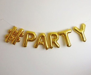 party, gold, and hashtag image