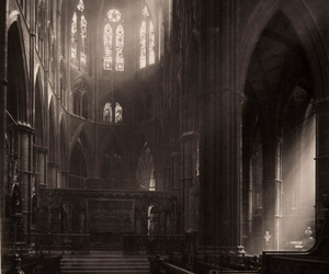 church, black and white, and cathedral image