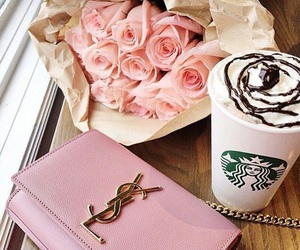 starbucks, pink, and flowers image