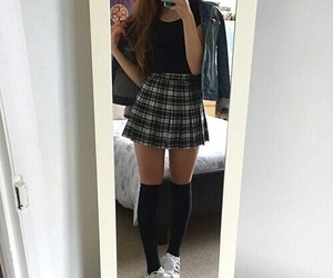 girl, adidas, and skirt image