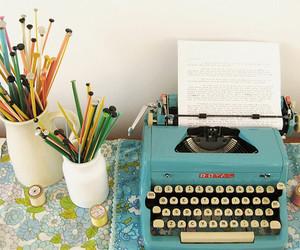typewriter, pencil, and vintage image